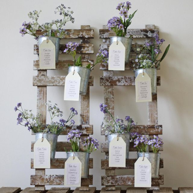 Wedding TABLE PLAN with FLOWER POTS, via Wedding of my dreams