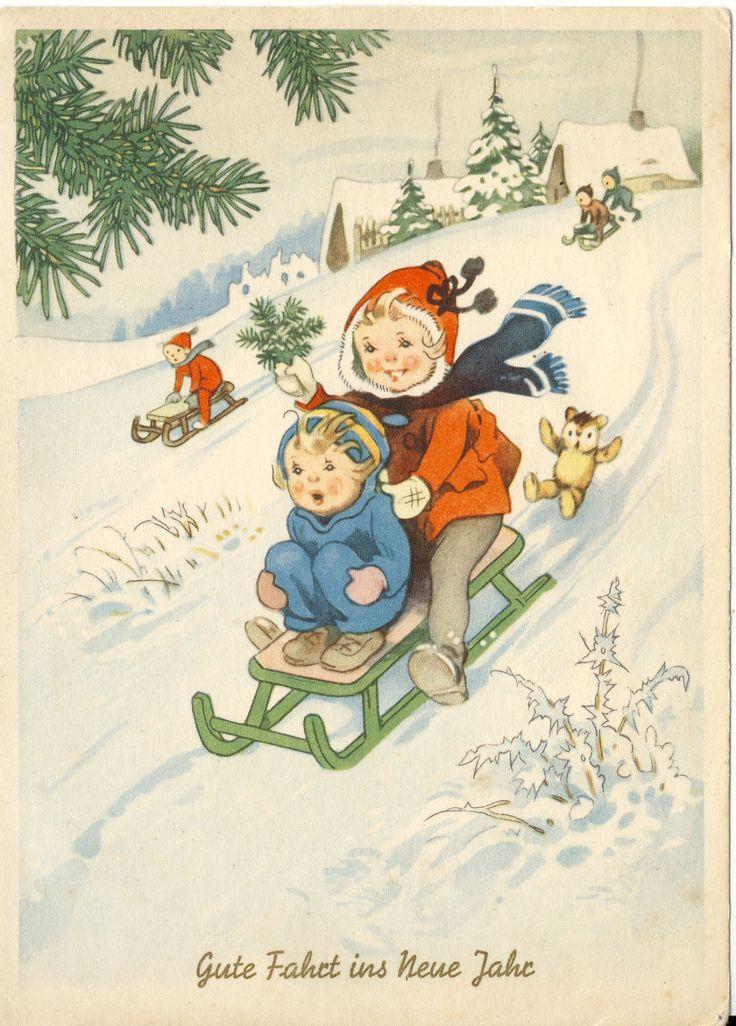 Neujahr: Kinder, Schlitten,Teddy, Motiv Fritz Baumgarten unsigniert, selten…