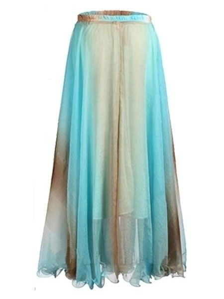 Charming The New Color Big Swing Off Shoulder Chiffon Maxi-skirt