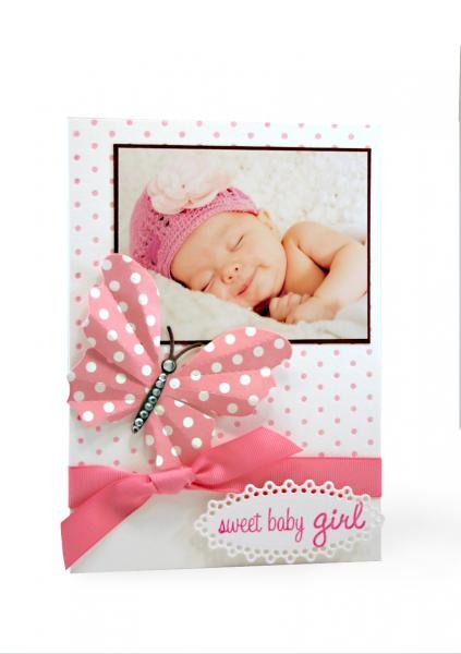 Sweet Baby Girl Letterpressed card using Lifestyle Crafts dies and letterpress....