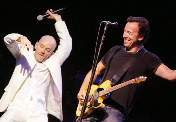 Bruce Springsteen and Michael Stipe of R.E.M. perform on stage during the Moveon.org Vote For Change Concert at the Wachovia Center October 1, 2004 in Philadelphia. (September 30, 2004 - Photo by Getty Images North America)