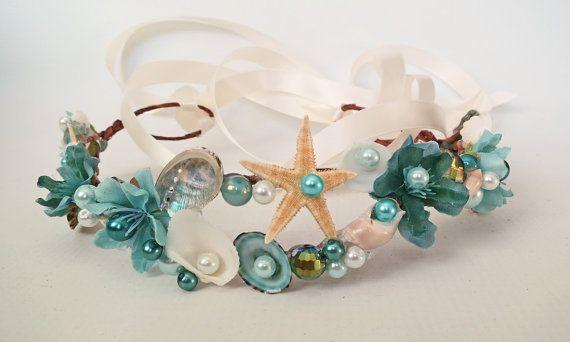Mermaid Flower Crown-Beach Wedding Crown-Sea Shell by HairDoodleDo
