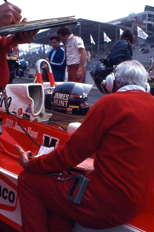 James Simon Wallis Hunt (GBR) (Marlboror Team McLaren), McLaren M26 - Ford-Cosworth DFV 3.0 V8 (RET)On the right is Teddy Mayer.1978 Belgian Grand Prix, Circuit Zolder