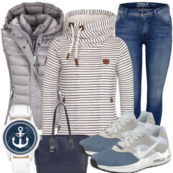 Die coolen AriMax Sneaker von Nike machen aus diesem Look einfach das perfekte Freizeit Outfit. Der weißschwarz gestreifete Naketano Hoodie, die Bluejeans von Only und die silberne Weste von Suprdry verleihen dem Ganzen etwas sportliches. Der blaue Shopper von Aldo und die weiß-blaue Armbanduhr mitdem coolen Anker-Motiv runden den Look ab.