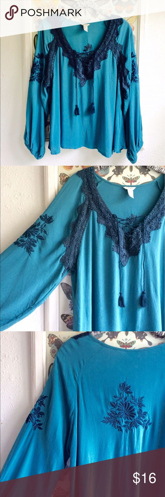 Beautiful teal bohemian blouse Beautiful bohemian blouse. With stitched detailing. So pretty, never worn. Perfect condition! Large, bit could fit smaller sizes.. Forever 21 runs small and I bought a large for extra flowiness :) Forever 21 Tops Blouses