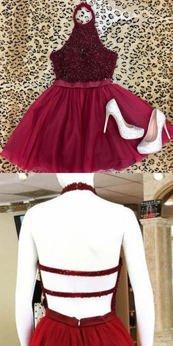 e68c209ec7d Cute A Line Halter Backless Dark Red Tulle Short Homecoming Dresses with  Beading