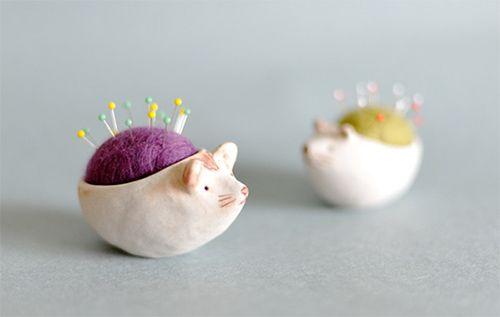Handmade ceramic pincushion animals