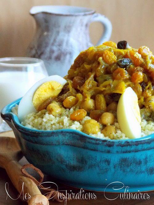 Couscous tfaya aux raisins secs et oignons caramélisés