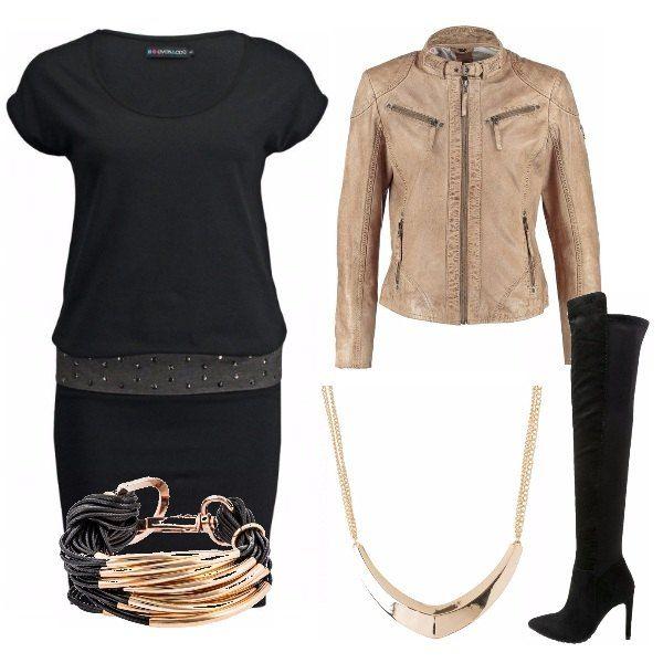 Per chi come me adora ballare, questo è l'outfit perfetto....vestitino tubino nero con fascia grigia e perline, stivali neri sopra il ginocchio, collana e bracciale per dare un po' di luce....e per finire un giacchettino di pelle color cipria per non rischiare un raffreddore quando usciamo in piena notte!!
