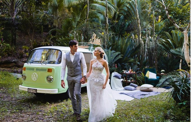 The mint green Kombi adds a sense of fun to the scene, while the stylish decor ensure a relaxed feel // styled shoot by Lyndal Carmichael Photography