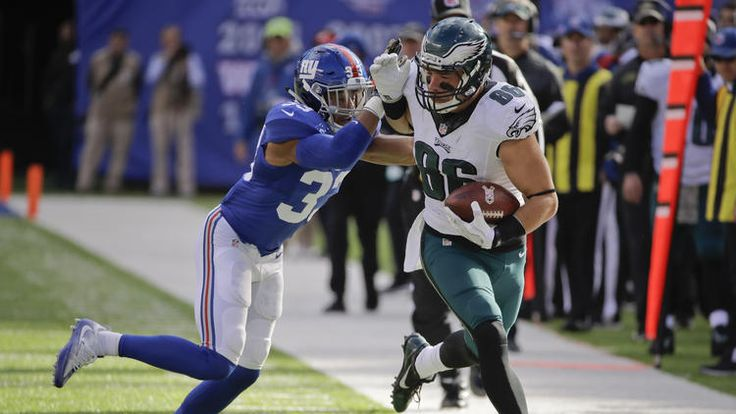 Eagles vs. Giants:  28-23, Giants  -  November 6, 2016  -    Philadelphia Eagles tight end Zach Ertz (86) is hit by New York Giants free safety Andrew Adams (33) during the second quarter of an NFL football game, Sunday, Nov. 6, 2016, in East Rutherford, N.J.