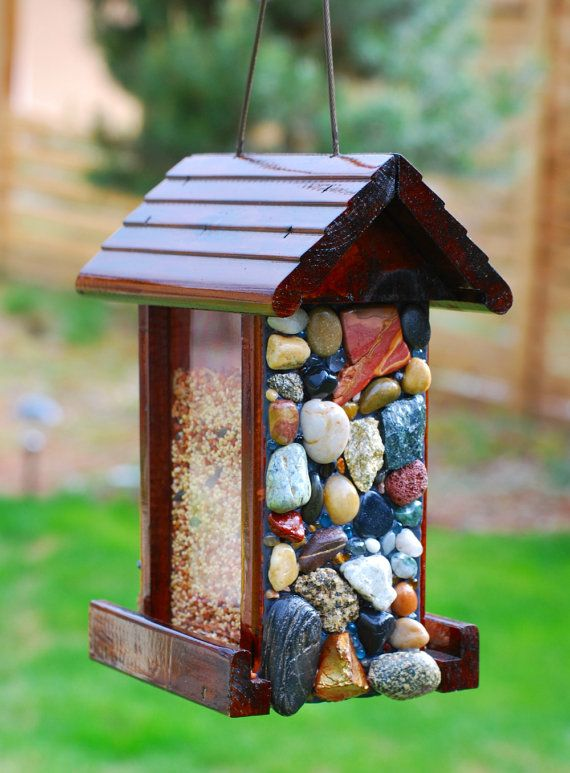 Mosaic Stone Bird Feeder with Seed by WinestoneBirdhouses on Etsy, $75.00