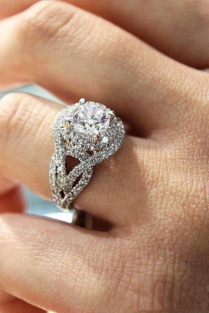 14K White Gold Pave Diamonds Around Wedding Ring Eternity Engagement Fine Bands