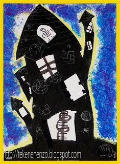 Spookhuis krijt tekenen handvaardigheid klas 5 groep 7 5th grade drawing
