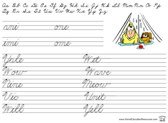 free printable cursive penmanship practice worksheet for beginners education cursive. Black Bedroom Furniture Sets. Home Design Ideas