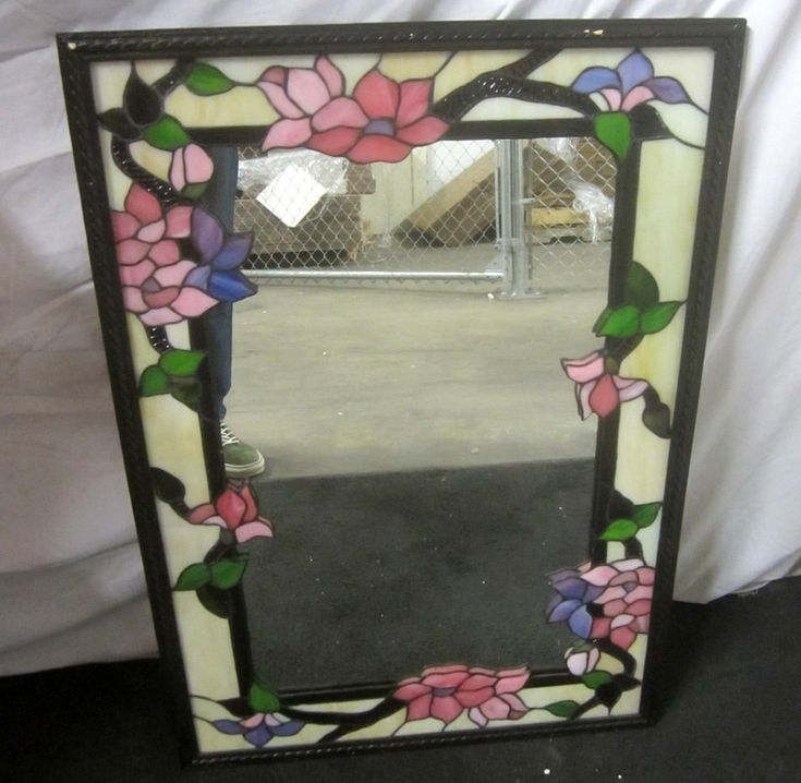 022 Heavy Stained Glass Mirror Floral Design