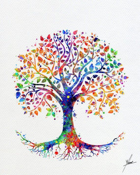 Watercolor Tree Of Life Print Wedding Gift Of Fine Archives Baum