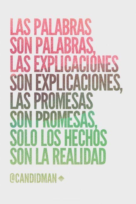 """""""Las Palabras son palabras, las Explicaciones son explicaciones, las Promesas son promesas, solo los Hechos son la Realidad""""."""