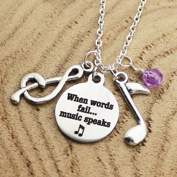 When Words Fail Music Speaks Necklace Charm by RootedInLoveCustom