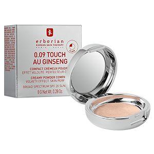 Découvrez la poudre 0.09 Touch au Ginseng d'Erborian : une poudre fondante hybride, qui aide à magnifier votre peau sans la dessécher.