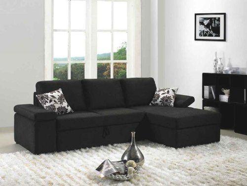 Avalon Black Microfiber Fabric Sectional Sofa With Built-in Bed.   living  room   Pinterest   Sectional sofa, Interior colors and Living rooms - Avalon Black Microfiber Fabric Sectional Sofa With Built-in Bed