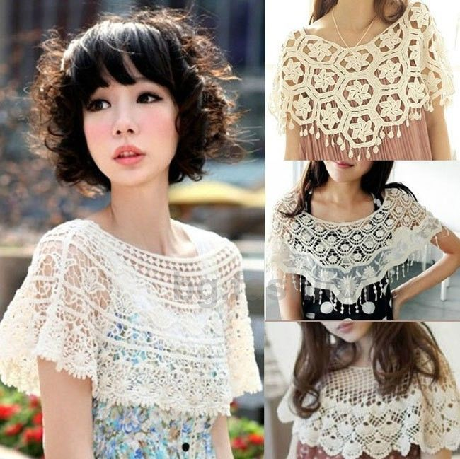 Sweet Womens Girl Crochet Capelet Hollowed-out Shawl Scarf Lace Collar Cape Tops