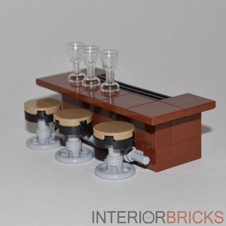 LEGO Furniture: Bar With Stools - Brown Bar w/ 3 Stools & Glasses   [custom set] #LEGO