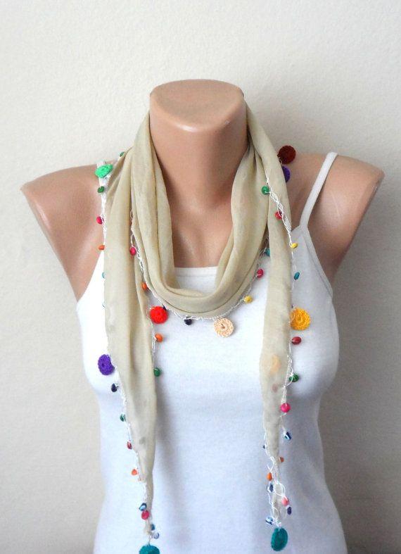 cream scarf salmon beads cotton scarf turkish scarf oya scarf