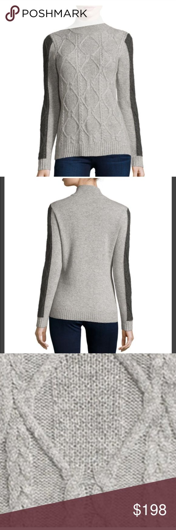NEIMEN MARCUS CASHMERE SWEATER XL Absolutely gorgeous sweater in Heather Gray with Black sleeve Side arm panels from NEIMEN Marcus - XL Neiman Marcus Sweaters Cowl & Turtlenecks