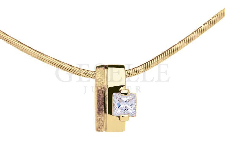 Prosta zawieszka z żółtego, 14-karatowego złota z kwadratową cyrkonią