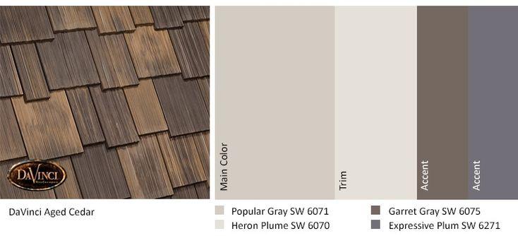 Best Exterior Color Schemes Aged Cedar Roof Davinci Shake In 400 x 300