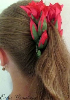 """""""Экзотический цветок"""" заколка-банан - коралловый,цветы ручной работы,цветы из ткани"""