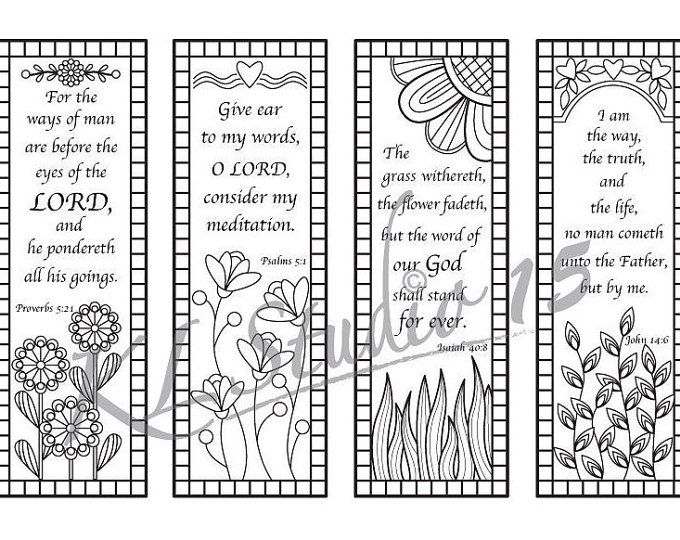 Set Of 4 Coloring Bookmarks With Quotes Bookmark Templates Etsy Coloring Bookmarks Bible Verse Coloring Bible Coloring