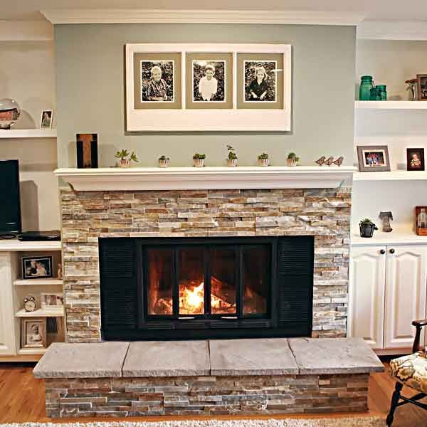 Stone Fireplace With Cabinets: A New Fireplace Surround, Hearth, And Mantel Lend The