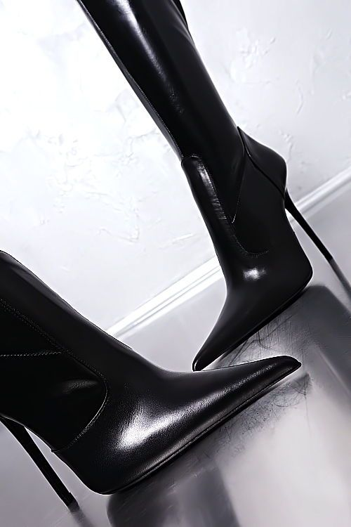 LEDER HOHE STIEFEL LACK STRETCH SCHWARZ ITALY Z30 BOOTS LEATHER HIGH HEELS
