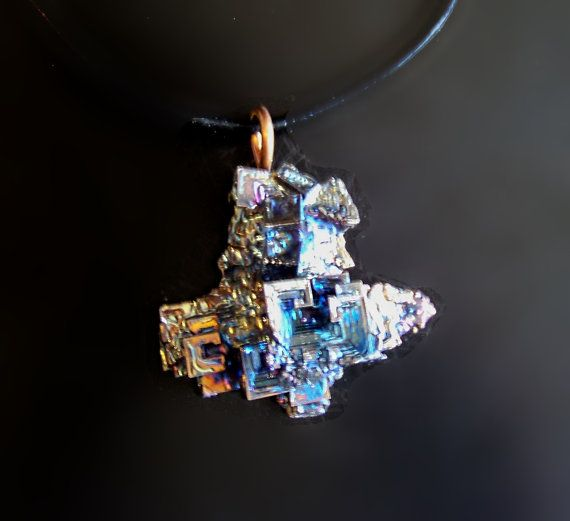 Bismuth Metal Crystal Iridescent Peacock Rainbow Pendant by deleas