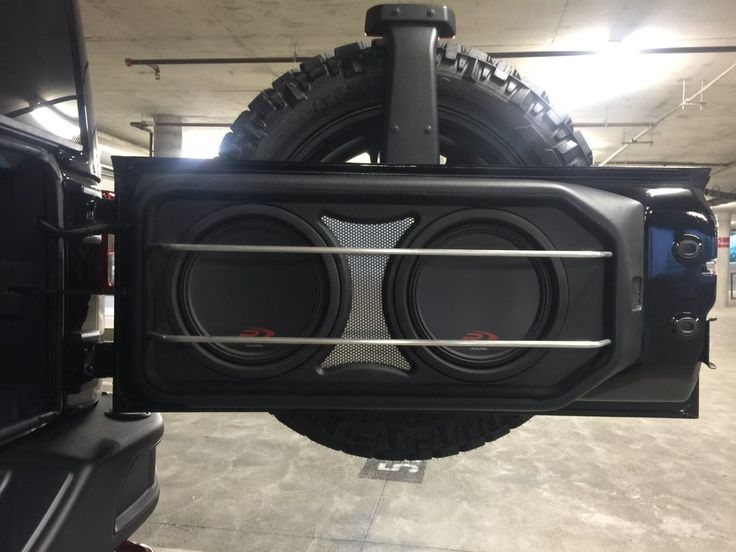 """Audio Toyz - Rancho Santa Margarita, CA, United States. 2015 Jeep Wrangler Rubicon custom 2 10"""" alpine Type-R subwoofers with pressed grill mesh and aluminum protection rods by Audiotoyz.(AFTER)"""