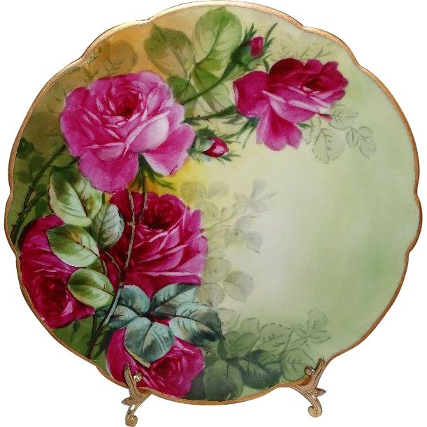 D&C Limoges France Antique Porcelain Plate with Hand Painted Sweetheart Roses - - Only Fine Lines