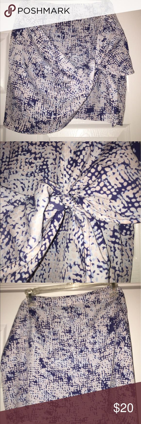 BCBG blue and white skirt with tie! BCBG summer skirt with layers and an adjustable knot on the side! BCBG Skirts