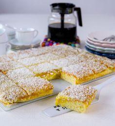En av de godaste och mest lättbakade kakor som du kan göra i långpanna. Så saftig och god! Perfekt om man ska bjuda många på god fika. Ca 24 stora bitar eller 30 mindre Kakan: 6 st ägg 4 dl strösocker 2 msk vaniljsocker 5 tsk bakpulver 3 dl vatten eller mjölk (jag använder mjölk) 6 dl vetemjöl Glasyren: 200 gram smör 8 dl florsocker 2 tsk vaniljsocker 1 tsk pressad citron 2 äggulor Garnering: Ca 1,5 dl riven kokos Gör såhär: Värm ugnen till 175°. Klä en långpanna, ca 30×40 cm, med…