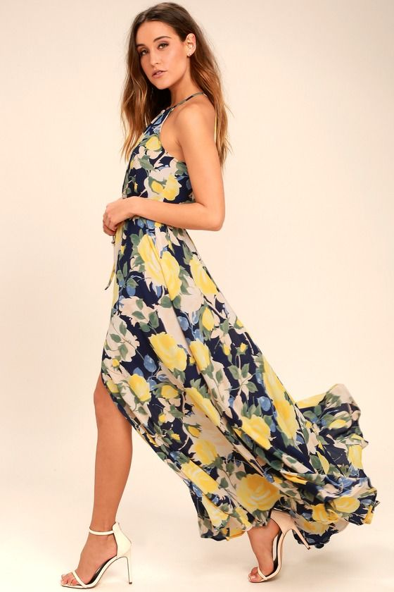 687f9eb43d Precious Memories Navy Blue and Yellow Floral Print Maxi Dress in ...