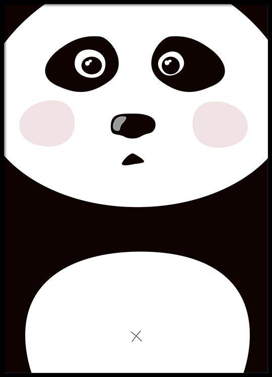 Schattige poster voor kinderkamer, panda
