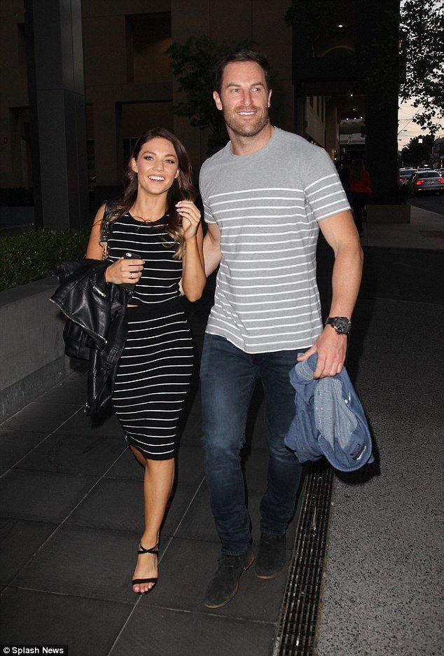 Smitten Sam Frost & Sasha Mielczarek don matching striped ...