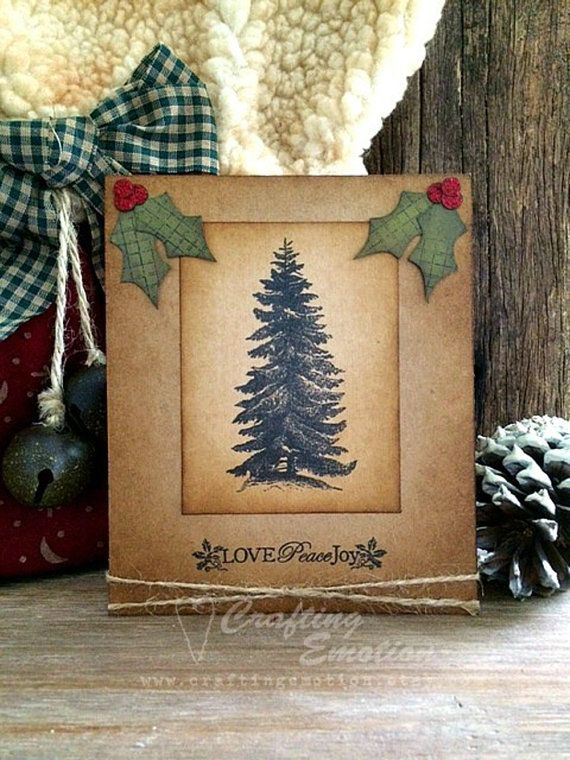 Handmade Christmas Greeting Card Rustic by Crafting Emotion on Etsy $9.50AUD