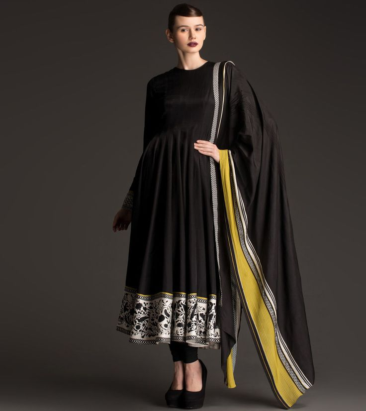 #am:pm Black Printed Silk #Anarkali #Suit at #Indianroots Was $ 596 | Is $ 298