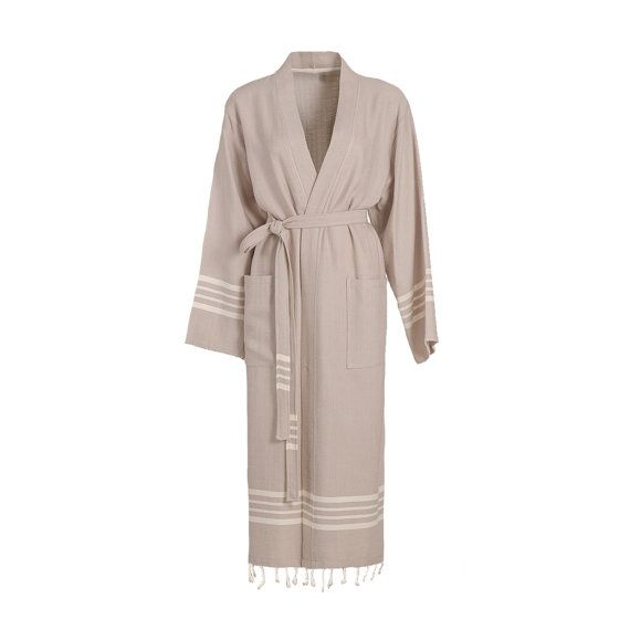 AZRA Turkish Towel Bathrobe is high-quality, 100% natural Turkish cotton with Fringe.