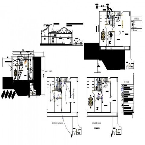 Electrical installation layout plan and house detail 2d