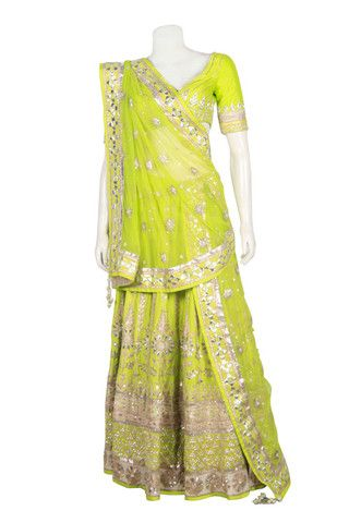 Bridal lehenga in lemon green color online – Panache Haute Couture