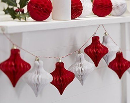 Ginger Ray Christmas Red & White Honeycomb Baubles Hanging Decoration…
