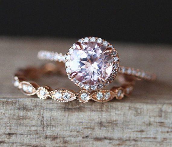 Morganite Engagement Ring Set 7mm Round Cut by DesignByAndre
